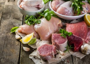 Chiken, pork and beef in a health and wellness coaching article presenting 2 simple ways to have better skin
